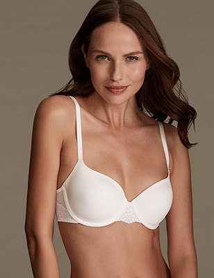 Smoothlines™ Lace Wing Underwired T-Shirt Balcony Bra A-DD, WHITE, catlanding
