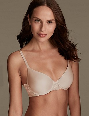 Smoothlines™ Lace Padded Full Cup T-Shirt Bra A-DD, ALMOND, catlanding