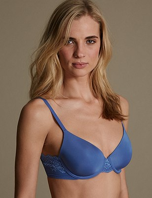 Smoothlines™ Lace Padded Full Cup T-Shirt Bra A-DD, BRIGHT BLUE, catlanding
