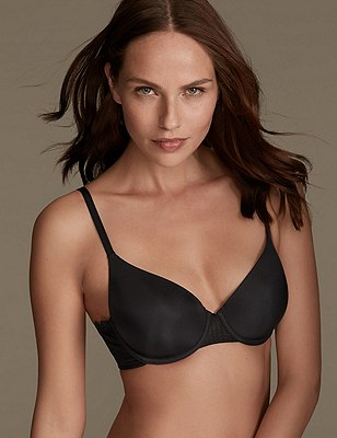 Smoothlines™ Lace Padded Full Cup T-Shirt Bra A-DD, BLACK, catlanding