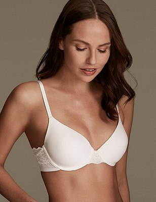 Smoothlines™ Lace Padded Full Cup T-Shirt Bra A-DD, WHITE, catlanding