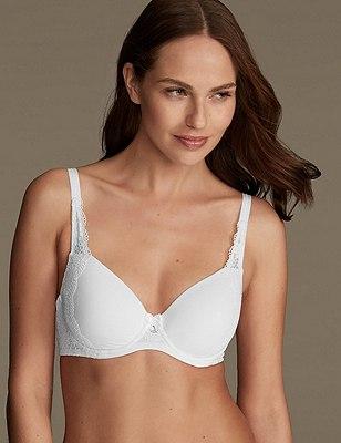 Daisy Cotton & Lace Full Cup T-Shirt Bra A-DD, WHITE, catlanding