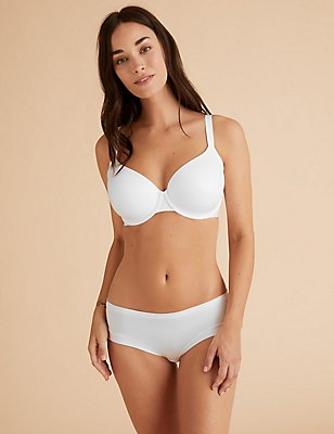 Sumptuously Soft Smoothing Underarm Full Cup T-Shirt Bra A-DD, WHITE, catlanding