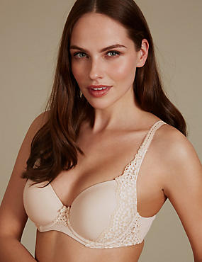 Vintage Lace Padded Full Cup T-Shirt Bra A-E, ALMOND, catlanding