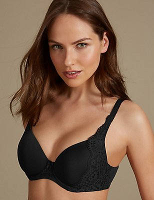 Vintage Lace Padded Full Cup T-Shirt Bra A-E, BLACK, catlanding