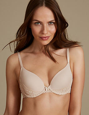Vintage Lace Padded Plunge T-Shirt Bra A-DD, ALMOND, catlanding