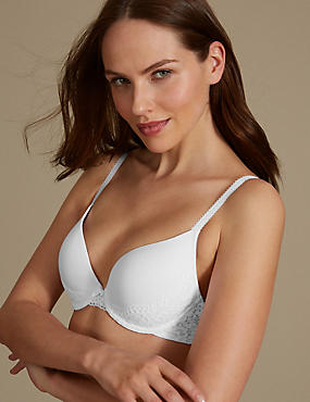 Vintage Lace Padded Plunge T-Shirt Bra A-DD, WHITE, catlanding