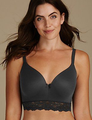 Sumptuously Soft Longline Full Cup T-Shirt Bra A-DD, BLACK, catlanding