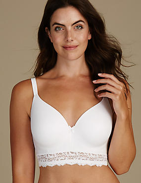 Sumptuously Soft Longline Full Cup T-Shirt Bra A-DD, WHITE, catlanding