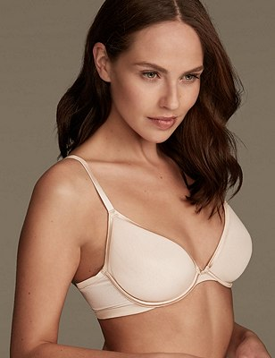 Underwired Padded Bonded Spacer Plunge Bra A-D, ALMOND, catlanding