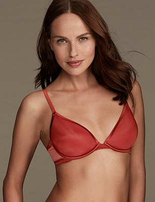 Underwired Padded Bonded Spacer Plunge Bra A-D, , catlanding