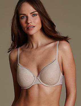 Feather Mesh Padded Light as Air™ Spacer Full Cup T-Shirt Bra A-E, ALMOND, catlanding