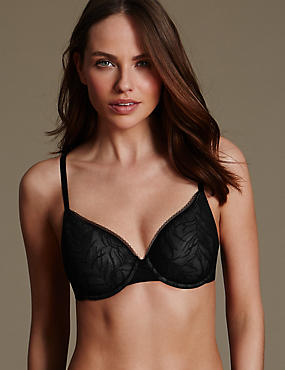 Feather Mesh Padded Light as Air™ Spacer Full Cup T-Shirt Bra A-E, BLACK, catlanding