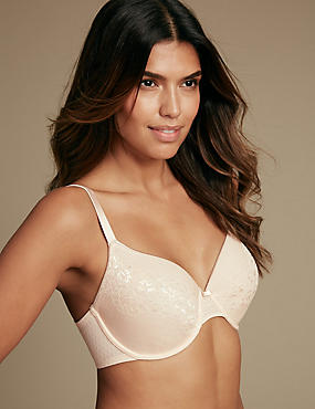 All Over Lace Spacer Padded Full Cup Bra A-E, ALMOND, catlanding
