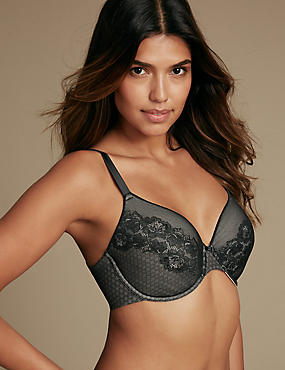 All Over Lace Spacer Padded Full Cup Bra A-E, , catlanding