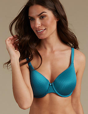 Zigzag Padded Underwired Full Cup Bra A-E, PETROL, catlanding