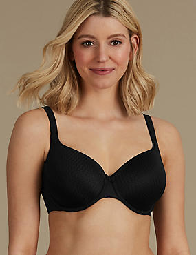 Zigzag Padded Underwired Full Cup Bra A-E, BLACK, catlanding
