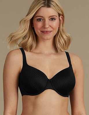 Textured Zigzag Padded Underwired Full Cup Bra A-E, BLACK, catlanding