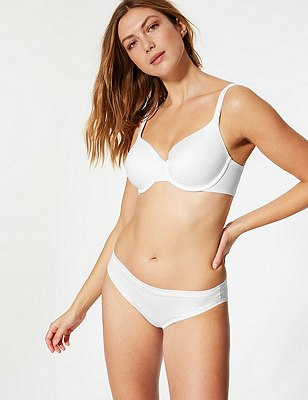 Textured Zigzag Padded Underwired Full Cup Bra A-E, WHITE, catlanding