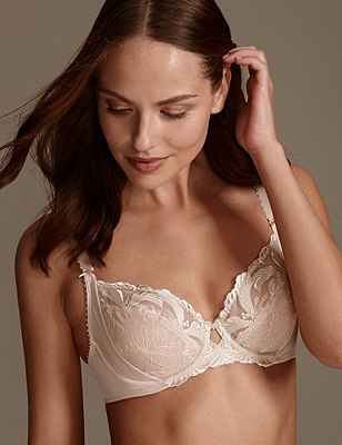 Hibiscus Embroidered Underwired Full Cup Balcony Bra B-E, ALMOND, catlanding