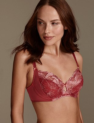 Hibiscus Embroidered Underwired Full Cup Balcony Bra B-E, HENNA, catlanding