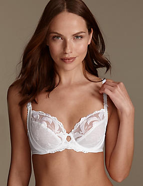 Hibiscus Embroidered Underwired Full Cup Balcony Bra B-E, WHITE, catlanding