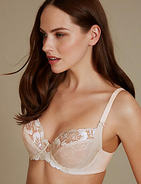 Floral Embroidered Non-Padded Balcony Bra B-E, ALMOND, catlanding