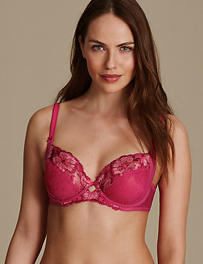 Floral Embroidered Non-Padded Balcony Bra B-E, CRIMSON, catlanding