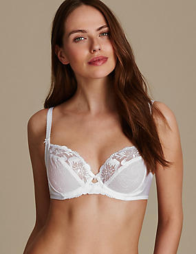 Floral Embroidered Non-Padded Balcony Bra B-E, WHITE, catlanding