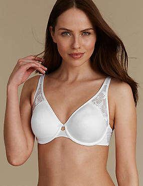 Floral Embroidered Non Padded Full Cup Bra , WHITE, catlanding