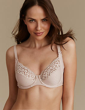 Vintage Lace Cotton Rich Non-Padded Full Cup Bra B-E, ALMOND, catlanding