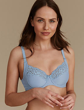 Vintage Lace Cotton Rich Non Padded Full Cup Bra B-E, SMOKEY BLUE, catlanding