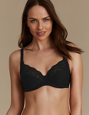 Vintage Lace Cotton Rich Non Padded Full Cup Bra B-E, BLACK, catlanding