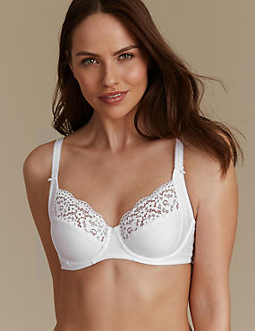 Vintage Lace Cotton Rich Non Padded Full Cup Bra B-E, WHITE, catlanding