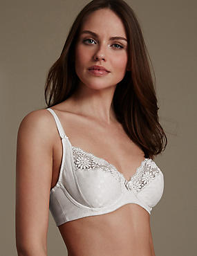 Supima® Cotton Rich Floral Lace Non-Padded Full Cup Bra B-DD, ALMOND, catlanding