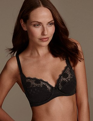 Supima® Cotton Rich Floral Lace Non-Padded Full Cup Bra B-DD, BLACK, catlanding