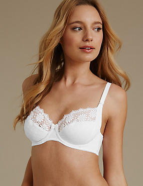 Supima® Cotton Rich Floral Lace Non-Padded Full Cup Bra B-DD, WHITE, catlanding