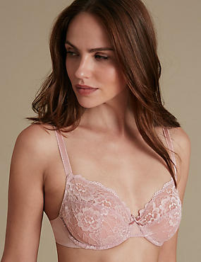 2 Pack Isabella All Over Lace Underwired Full Cup Bra B-DD, PALE ROSE, catlanding