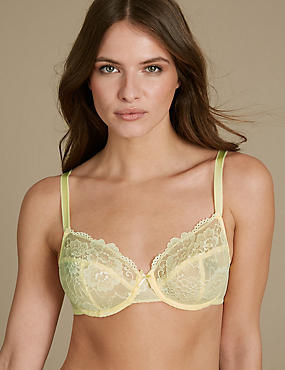 2 Pack Isabella All Over Lace Underwired Full Cup Bra B-DD, PALE YELLOW, catlanding
