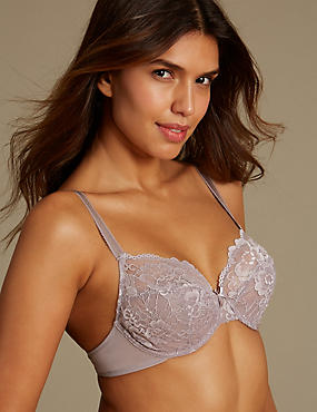 2 Pack Isabella All Over Lace Underwired Full Cup Bra B-DD, PRALINE, catlanding