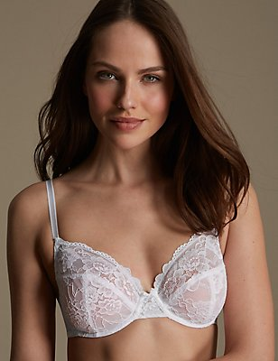 2 Pack Isabella All Over Lace Underwired Full Cup Bra B-DD, WHITE/BLACK, catlanding