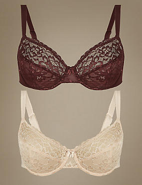 2 Pack All Over Lace Non-Padded Full Cup Bra B-DD, MAHOGANY, catlanding