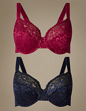 2 Pack All Over Lace Non-Padded Full Cup Bra B-DD, DARK CRANBERRY, catlanding