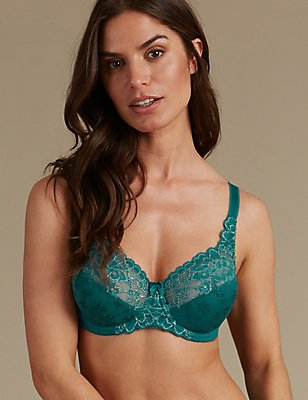 2 Tone Floral Lace Full Cup Bra A-DD, PINE GREEN, catlanding