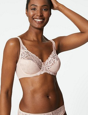 Floral Jacquard Lace Underwired Full Cup Bra A-DD, ALMOND, catlanding