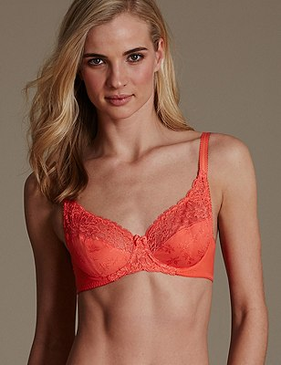 Floral Jacquard Lace Underwired Full Cup Bra A-DD, ORANGE SQUASH, catlanding