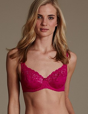 Floral Jacquard Lace Underwired Full Cup Bra A-DD, FUCHSIA, catlanding