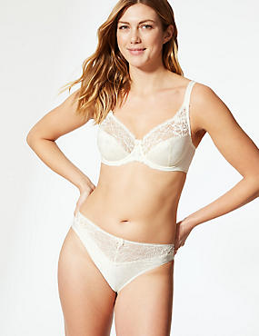 Floral Jacquard Lace Underwired Full Cup Bra A-DD, LIGHT CREAM, catlanding