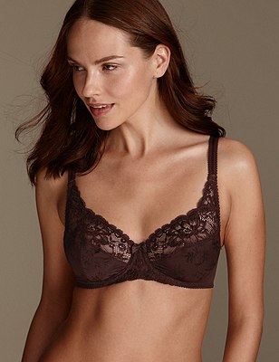 Floral Jacquard Lace Underwired Full Cup Bra A-DD, MAHOGANY, catlanding