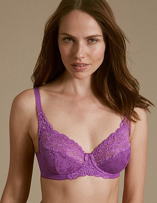 Floral Jacquard Lace Underwired Full Cup Bra A-DD, LIGHT MAGENTA, catlanding